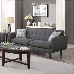 Wildon Home Stansall Sofa Upholstery: Charcoal Living Room Grey, Living Room Sets, Living Room Designs, Living Room Furniture, Home Furniture, Living Room Decor, Furniture Vanity, Sofa And Loveseat Set, Mid Century Modern Design