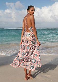 pink crocheted maxi dress