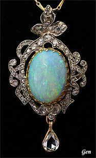 Opal pendant, ca. 1910, Europe, opal, rose cut diamond, platinum, gold, 4 x 2.2 cm, 6.8 g