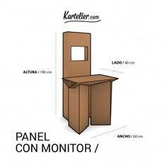 Kartelier | Muebles de cartón - Panel expositor con monitor en cartón