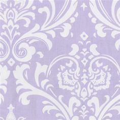 Fabric for crib sheet-lilac damask