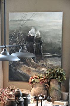 schilderij met Huizer vrouwen