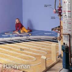 How Hydronic Radiant Floor Heating Works: If you want to add an addition but your furnace can't handle the additional load, think about installing hydronic radiant floor heating. This will make your addition a warm and cozy without upgrading your furnace. Hydronic Radiant Floor Heating, Hydronic Heating, Underfloor Heating, Pex Plumbing, Water Heating, Tips & Tricks, Radiant Heat, Home Repairs, Diy Home Improvement