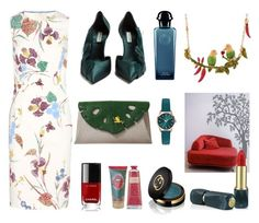 """""""Mother Nature at the Office"""" by signorinapersonalshopper on Polyvore featuring moda, Diane Von Furstenberg, Charlotte Olympia, Balenciaga, York Wallcoverings, Hermès, Les Néréides, Oribe, Gucci e Henry London"""