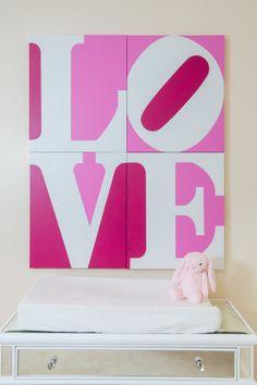 Hearts & Love go hand in hand. #pinknursery #lovewallart