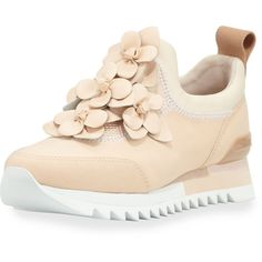 Tory Burch Blossom Neoprene Sneaker ($315) ❤ liked on Polyvore featuring shoes, sneakers, blush, floral slip on sneakers, low heel shoes, slip-on shoes, platform slip on shoes and slip on sneakers