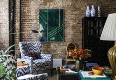 Soho, New York City — Katie Rosenfeld & Company White Sofa Table, White Sectional, Log Home Decorating, Decorating Ideas, Round Ottoman, Interior Design Companies, Fashion Room, Log Homes, Soho