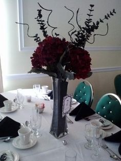 Elegant Silk Hydrangea floral arrangement (with lighted branches - unlit in this picture) - Distinctive Creations