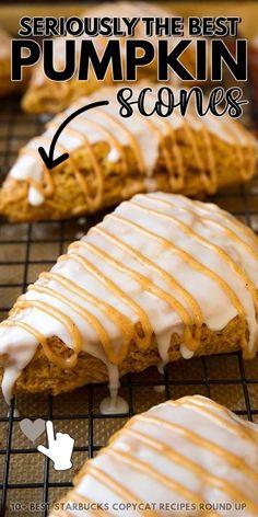 This Best Pumpkin Scones Dessert Recipe Link is #8 on our list of BEST Starbucks Copycat Recipes! Apple Recipes, Pumpkin Recipes, Fall Recipes, Sweet Recipes, Fall Dessert Recipes, Drink Recipes, Desserts, Pumpkin Scones Starbucks, Food Photography