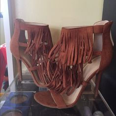 Fringe heels Price is firm ❗️New in box! Never worn! Tried on in the house but they are just too high for me. Bought them from an online boutique! Under steve madden for exposure. Steve Madden Shoes