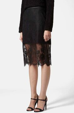 Topshop Lace Overlay Pencil Skirt available at #Nordstrom
