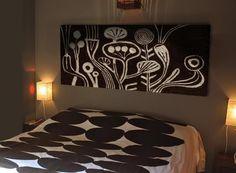 Wool drawing- Home decor- decorative headboard made by wool glued on wood