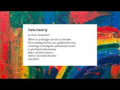 Sanctuary - YouTube Poems, Scene, Peace, Pure Products, Writing, Videos, Youtube, Poetry, A Poem