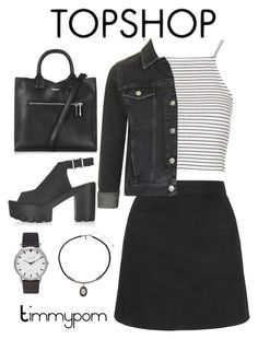 """""""Topshop"""" by timmypom ❤ liked on Polyvore featuring Topshop, croptop, blackandwhite, skirts, croptops and topshop"""