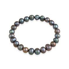 Genuine Freshwater Cultured 8x10mm Peacock Pearl Stretch Bracelet SilverSpeck. $5.99