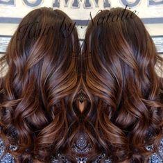 8 long brown hair with caramel balayage by rena