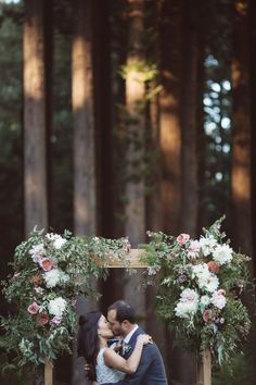 simple arbor with floral decor captured by Heather Elizabeth Photography http://heatherelizabethphotography.com/