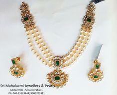 Gold Jewellery Design, Bead Jewellery, Temple Jewellery, Beaded Jewelry, Jewelery, Pearl Jewelry, Pearl Necklace Designs, Gold Necklace, Bollywood Jewelry