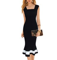 Midi Dress – Black with White Trim / Mermaid Flare