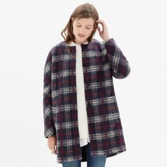 Madewell Plaid Estate Coat Wool Brushed Cocoon 12