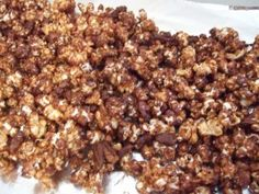 caramel and chocolate covered popcorn.  Popcorn, caramel, chocolate and butter - maybe not this exact recipe, but something like it!