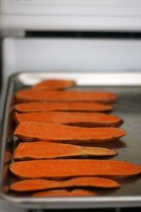 """Sweet Potato Treats for Dogs! 2-3 Sweet Potatoes 1 Tbls Olive Oil (or other)  Preheat oven to 200F.  Wash/slice potatoes to about 1/4"""". You can peel off skins if u choose. Lightly oil bkg sheet.  Don't overlap. Bake about four hours, flip every hour.  Bake for less time for chewy. Crispy- bake them longer! Store them in airtight container in the fridge.  Mine were gobbled up quickly!"""