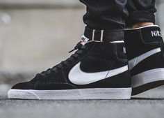 Nike Blazer Mid Premium - Black/White - 2016 (by. – Nike Blazer Mid Premium - Black/White - 2016 (by titolo) Available at: End Clothing / ASOS / The Good Will Out / Find more shops → Sneakers Mode, Best Sneakers, Casual Sneakers, Sneakers Fashion, Fashion Shoes, Shoes Sneakers, Mens Fashion, Converse Sneaker, Puma Sneaker