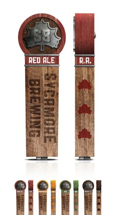 Sycamore Brewing tap handles - Kendrick KiddCool combo of wood logo and product