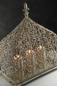 Different shape fleur de lis cage. Chandeliers, Save On Crafts, The Bell Jar, Bird Cages, Apothecary Jars, Decoration Table, Decorations, Candle Lanterns, Candlesticks