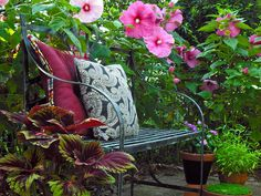 Hidden Garden Bench with Pillows