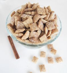 Crunchy rice chex cereal is coated in cinnamon sugar for the easiest and most addicting snack ever created. Yummy Treats, Delicious Desserts, Sweet Treats, Yummy Food, Fall Desserts, Chex Mix Recipes, Snack Recipes, Dessert Recipes, Nut Recipes