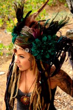 This is not boho! Its a hippie with dreads wearing an indian headdress. Boho Gypsy, Gypsy Soul, Bohemian, Dreads, Third Eye Pinecone, Teal Flowers, Feather Headdress, Feather Crown, Tribal Belly Dance