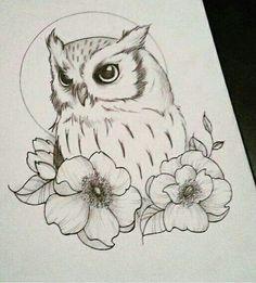 owl drawing * owl tattoo & owl & owl tattoo design & owl tattoo for women & owl drawing & owl art & owl crafts & owl valentines boxes Flower Tattoo Drawings, Bird Drawings, Pencil Art Drawings, Flower Tattoo Designs, Doodle Drawings, Animal Drawings, Drawing Sketches, Tattoo Flowers, Drawing Owls