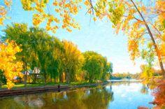 I uploaded new artwork to fineartamerica.com! - 'Autumn Tree And River ' - http://fineartamerica.com/featured/autumn-tree-and-river-lanjee-chee.html via @fineartamerica
