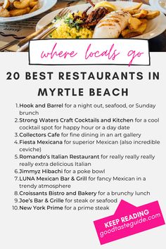 Here are the 20 best restaurants in Myrtle Beach, according to a local. If you're looking for off the beaten path places to eat in Myrtle Beach, check out these locally-owned restaurants. In no particular order, 20 must-try restaurants in the Myrtle Beach area that offer an excellent menu and are unique to the area. Myrtle Beach Things To Do, Myrtle Beach Vacation, Beach Trip, Vacation Trips, Vacation Ideas, Vacations, Best Brunch Places, Area Restaurants, Craft Cocktails