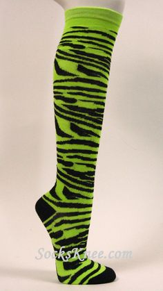 As a styling wicked witch I would definitely rock these socks!!!!!!!!!!              women's striped knee high socks | Neon Green Black Zebra Striped Women's High Knee Socks