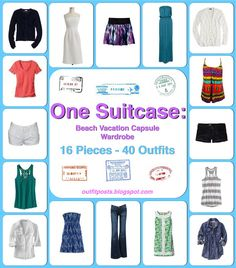 This woman is a genius! Good ideas for packing light but still being able to have a variety of outfits!  Outfit Posts: (summary) one suitcase: beach vacation capsule wardrobe