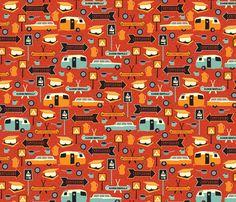 Happy Camper fabric by jennartdesigns on Spoonflower - custom fabric