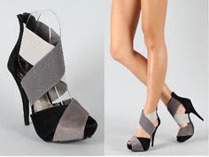 Calisto-1 Colorblock Criss Cross Peep Toe Sandal