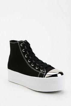 3c95a4c824b Jeffrey Campbell No Star Metal Cap-Toe Flatform-Sneaker