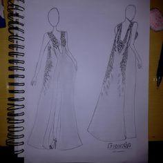 GHonorio Fashion: Vestido longo com capa #moda #fashion #croqui #des...
