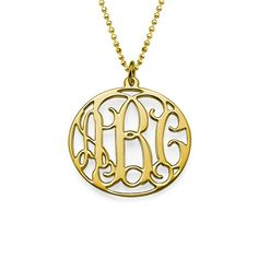 18ct Gold Plated Circle Initials Necklace | MyNameNecklace