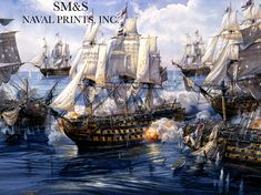 """""""The Nelson Touch,"""" by Tom Freeman. """"HMS Victory,"""" breaking the line of the combined French and Spanish fleets at the beginning of the Battle of Trafalgar on Oct. 21, 1805."""