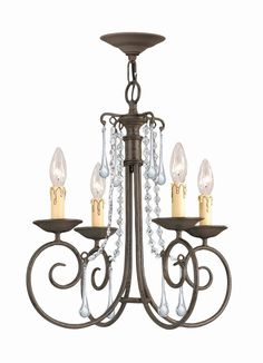 Crystorama SOHO Natural Wrought Iron Chandelier Accented with Hand Cut Crystal 4 Lights - Dark Rust - 5204-DR-CL-MWP