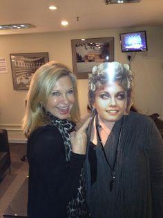 Olivia Newton-John with a masquerade face of Sandy