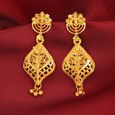 Gold Plated Ball Traditional Indian Jhumka Jhumki Bridal Party Ethnic Earrings #DesaiJewellers #DropDangle