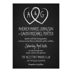 "Chalkboard Hearts Monogram Wedding invitation 5"" X 7"" Invitation Card"