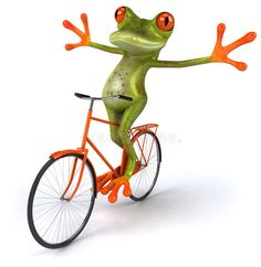 Frog with a bicycle stock illustration. Illustration of toad - 15781636 Cartoon Pics, Funny Animal Videos, Funny Animal Pictures, Funny Animals, Funny Frogs, Cute Frogs, Frog Pictures, Cute Pictures, Tree Frogs