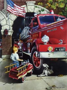 What little boy hasn't dreamed of becoming a fireman? Dan Hatala uses the art print CHILDHOOD DREAMS to portray that feeling, even including a pedal fire truck. Fire Dept, Fire Department, Ambulance, Volunteer Firefighter, Firefighters, Firemen, Firefighter Decor, Fire Apparatus, Fire Engine