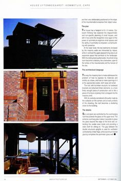 This article written by Norbert Rozendal, of Uytenbogaardt and Rozendal, the firm responsible for the design of the house, remains the most . Architecture Details, African, Explore, Contemporary, How To Plan, House, Design, Haus, Design Comics